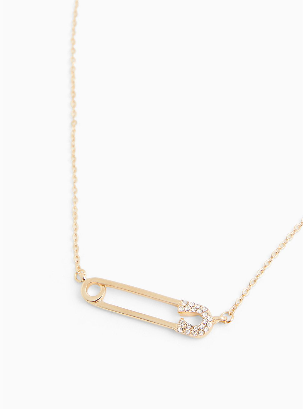 Gold-Tone Safety Pin Necklace, , hi-res