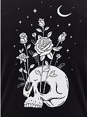 Black Moon Skull Fleece Side Zip Tunic Hoodie, DEEP BLACK, alternate