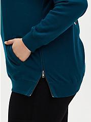 Teal Moon Fleece Side Zip Tunic Hoodie, , alternate