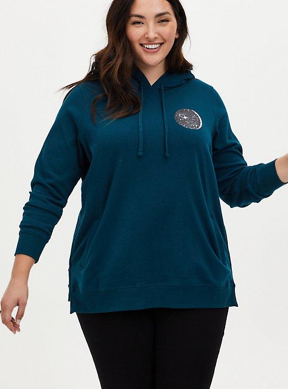 Teal Moon Fleece Side Zip Tunic Hoodie, , hi-res