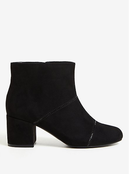 Black Faux Suede Rhinestone Ankle Bootie (WW), BLACK, alternate