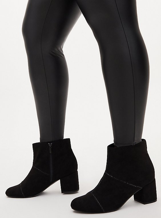 Black Faux Suede Rhinestone Ankle Bootie (WW), BLACK, hi-res