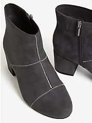 Grey Faux Suede Rhinestone Seam Ankle Bootie (WW), GREY, alternate