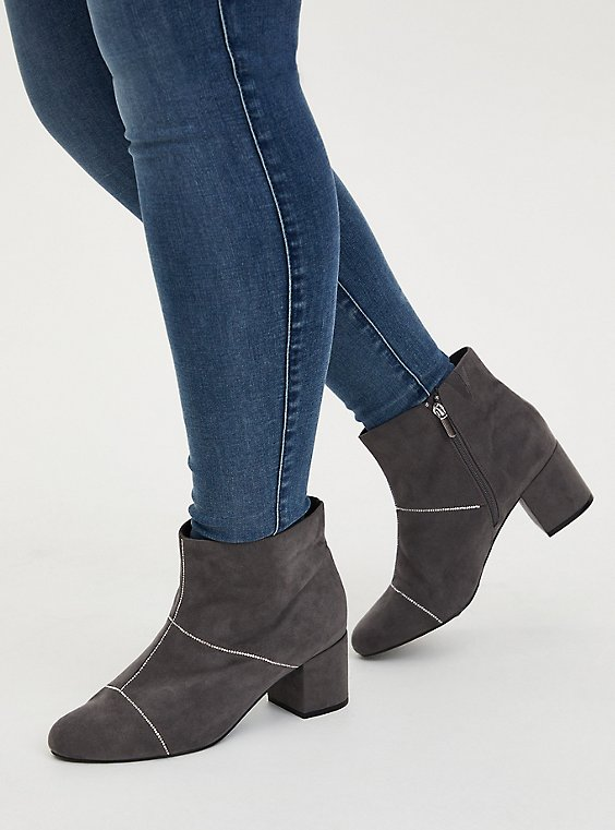 Grey Faux Suede Rhinestone Seam Ankle Bootie (WW), GREY, hi-res