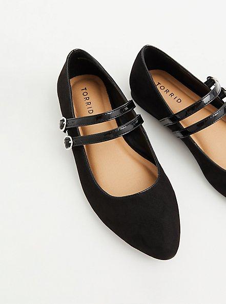 Black Double Strap Mary Jane Flat (WW), BLACK, alternate