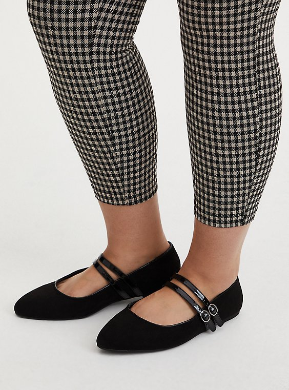 Black Double Strap Mary Jane Flat (WW), , hi-res