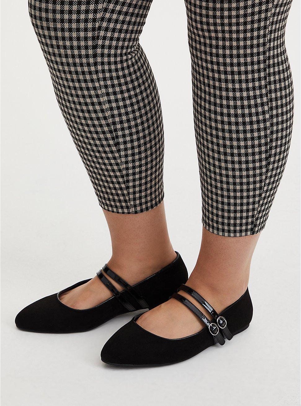 Black Double Strap Mary Jane Flat (WW), BLACK, hi-res