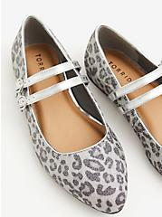 Silver Double Strap Leopard Mary Jane Flat (WW), SILVER, alternate