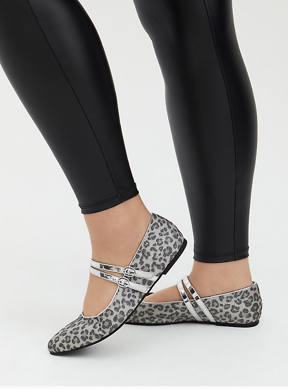 Silver Double Strap Leopard Mary Jane Flat (WW), , hi-res