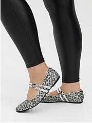Silver Double Strap Leopard Mary Jane Flat (WW), SILVER, hi-res
