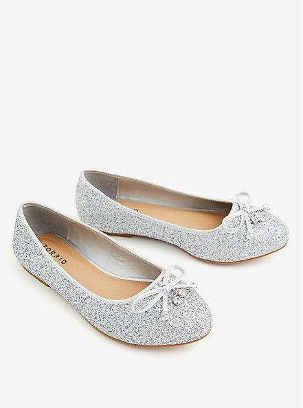 Grey Allover Glitter Ballet Flat (WW), SILVER, alternate