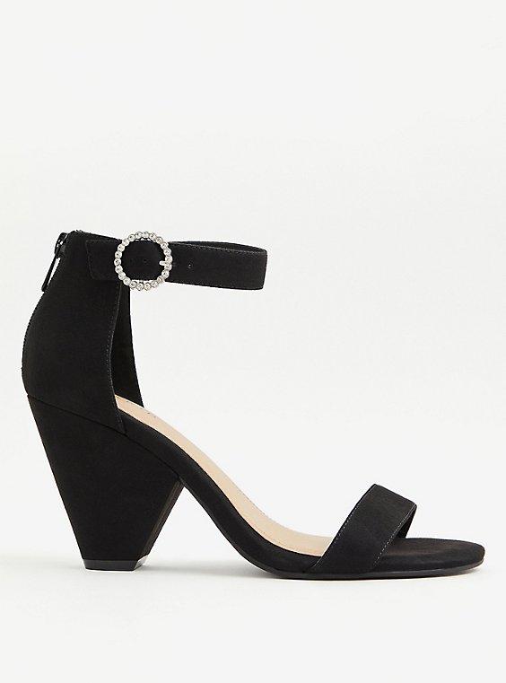 Black Faux Suede Rhinestone Buckle Ankle Strap Cone Heel (WW), BLACK, hi-res