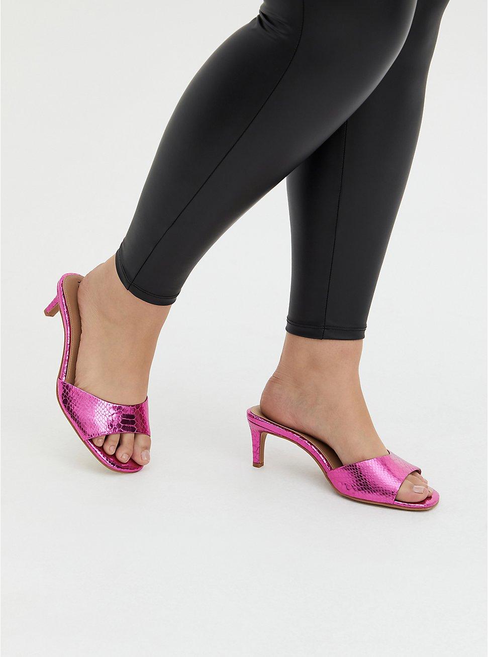 Neon Pink Faux Leather Snakeskin Mule Heel (WW), NEON FUCHSIA, hi-res