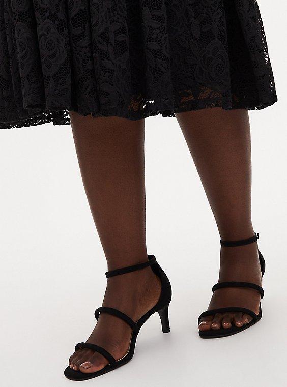 Black Faux Suede Set Back Heel (WW), BLACK, hi-res
