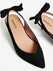 Plus Size Black Faux Suede Pointed Toe Bow Slingback Heel (WW), BLACK, alternate