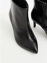 Black Snakeskin Faux Leather Pointed Toe Bootie (WW), BLACK, alternate