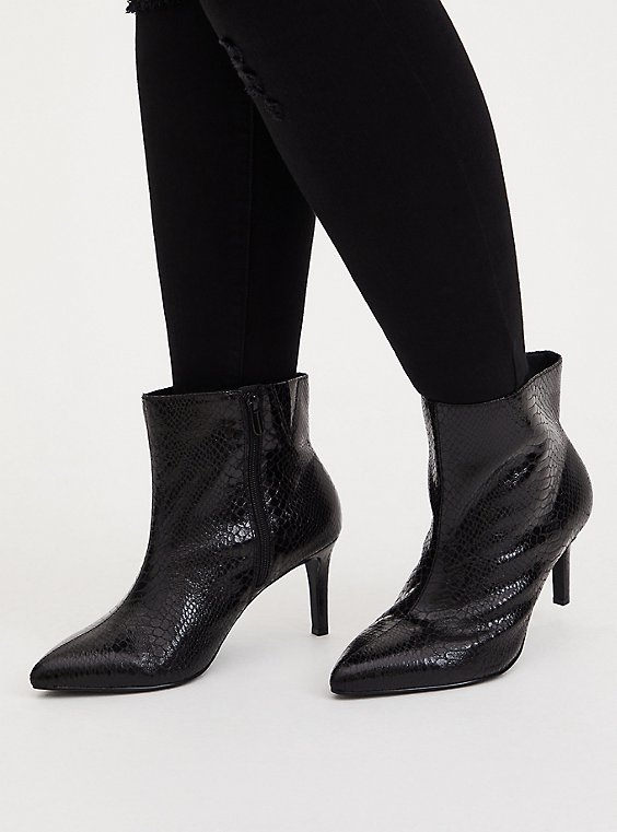 Black Snakeskin Faux Leather Pointed Toe Bootie (WW), BLACK, hi-res