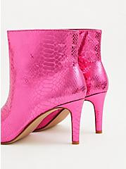 Fuchsia Pink Snakeskin Faux Leather Pointed Toe Bootie (WW), PINK, alternate