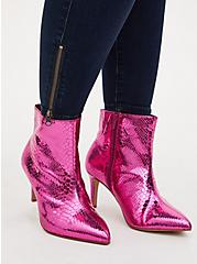 Fuchsia Pink Snakeskin Faux Leather Pointed Toe Bootie (WW), PINK, hi-res