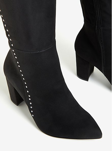 Black Faux Suede Studded Over-The-Knee Boot (WW), BLACK, alternate