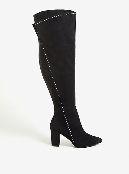 Black Faux Suede Studded Over-The-Knee Boot (WW), BLACK, hi-res