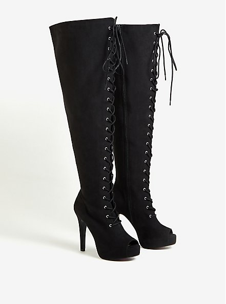 Black Faux Suede Open Toe Lace-Up Over-The-Knee Platform Boot (WW), BLACK, alternate