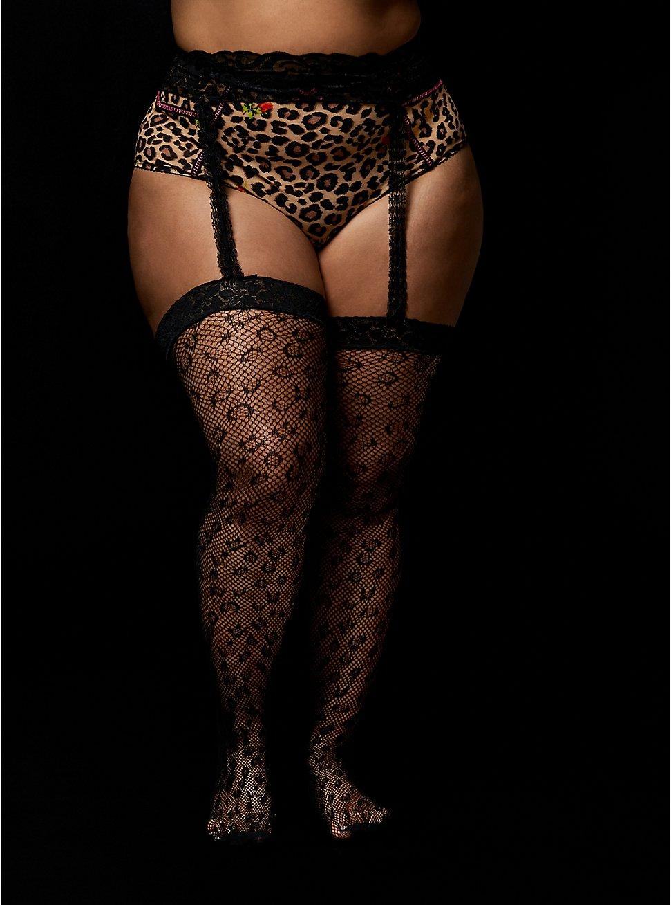 Betsey Johnson Black Leopard Fishnet & Garter Tights, ANIMAL, hi-res