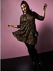 Plus Size Betsey Johnson Cherry Print & Black Tights, BLACK, alternate