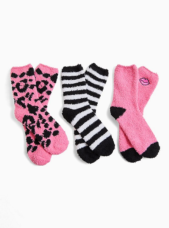 Betsey Johnson Pink & Black Socks Pack - Pack of 3, , hi-res