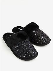 Black Glitter Slip-On Slipper (WW), BLACK, alternate