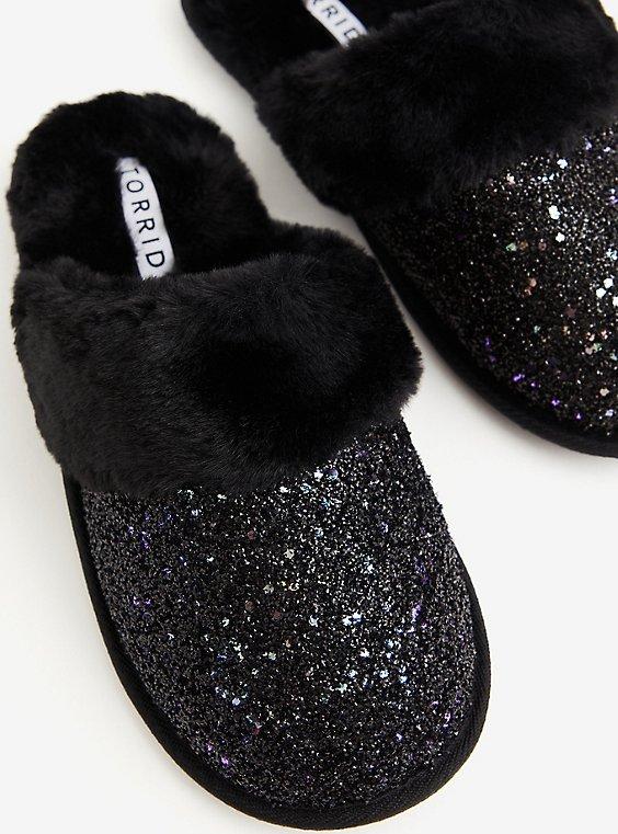 Black Glitter Slip-On Slipper (WW), BLACK, hi-res