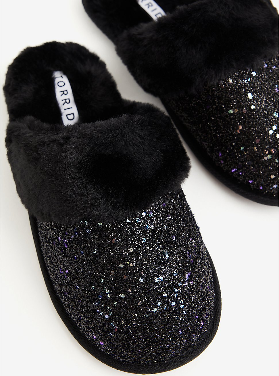 Plus Size Black Glitter Slip-On Slipper (WW), BLACK, hi-res