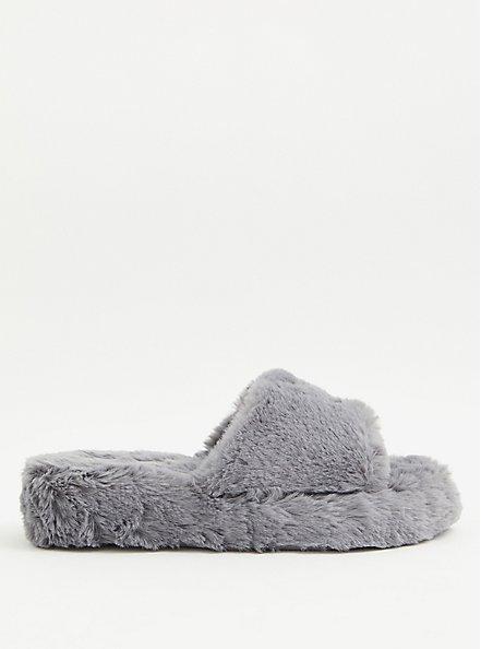 Grey Faux Fur Platform Slipper (WW), GREY, alternate