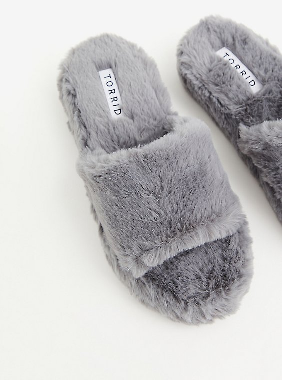 Grey Faux Fur Platform Slipper (WW), GREY, hi-res