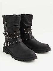 Black Faux Leather Studded Lug Sole Moto Boot (WW), BLACK, alternate