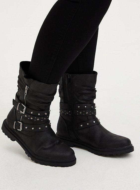 Black Faux Leather Studded Lug Sole Moto Boot (WW), , hi-res