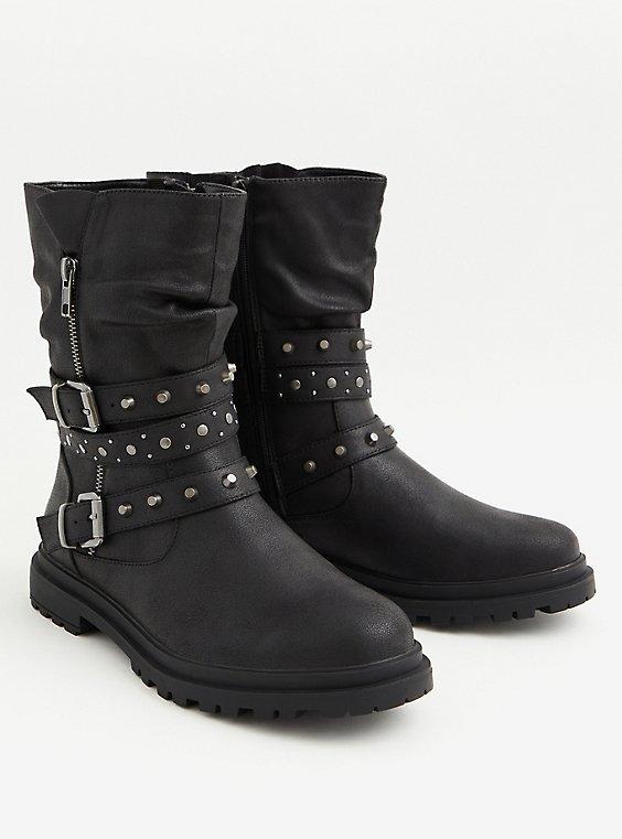 Black Faux Leather Studded Lug Sole Moto Boot (WW), BLACK, ls