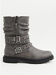 Grey Faux Leather Studded Lug Sole Moto Boot (WW), GREY, alternate