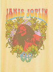 Janis Joplin Burnout Yellow Ringer Tee, , alternate