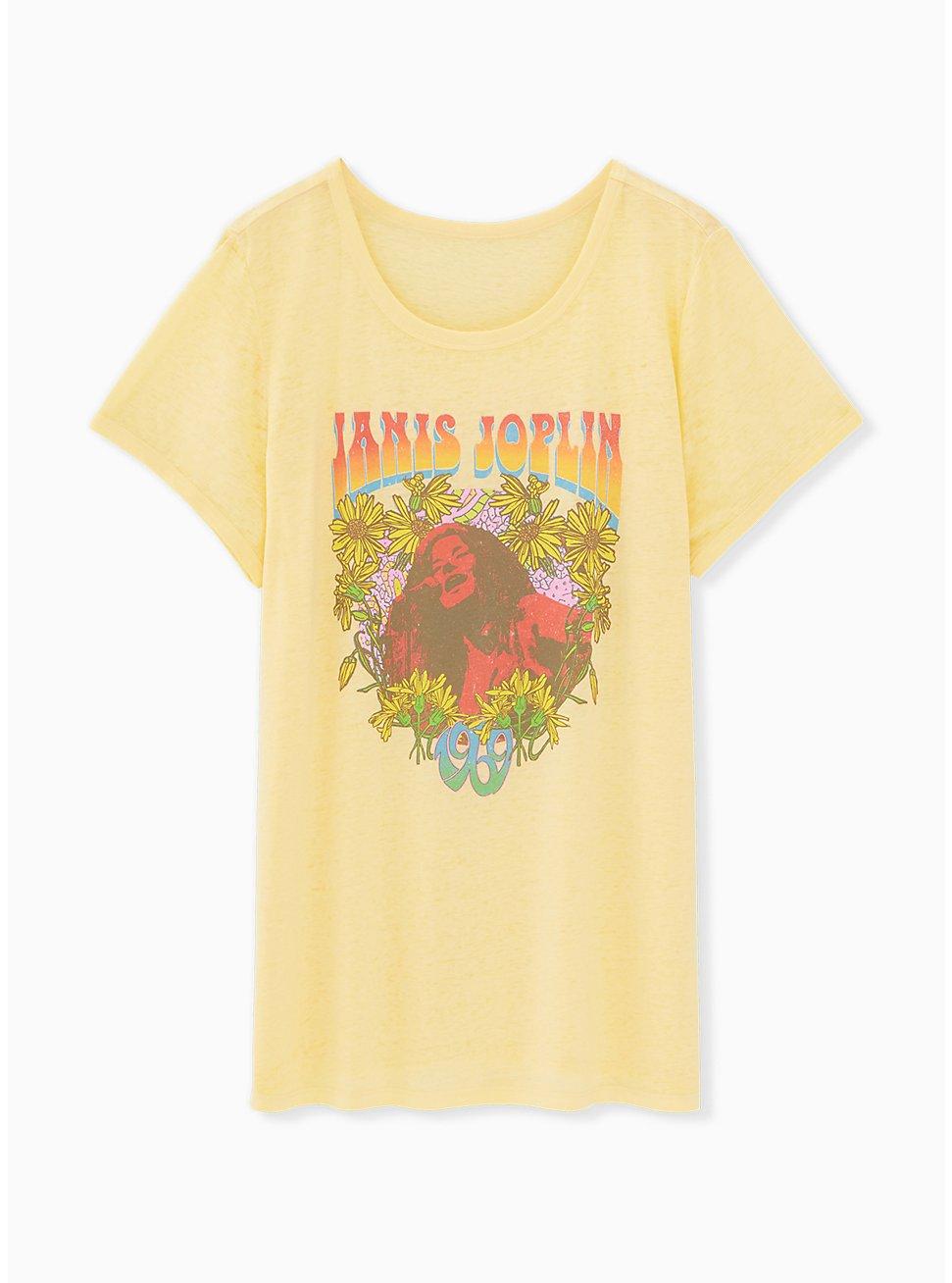 Janis Joplin Burnout Yellow Ringer Tee, , hi-res