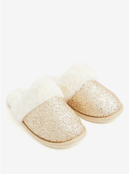 Gold Yellow Glitter Slipper (WW), GOLD, alternate