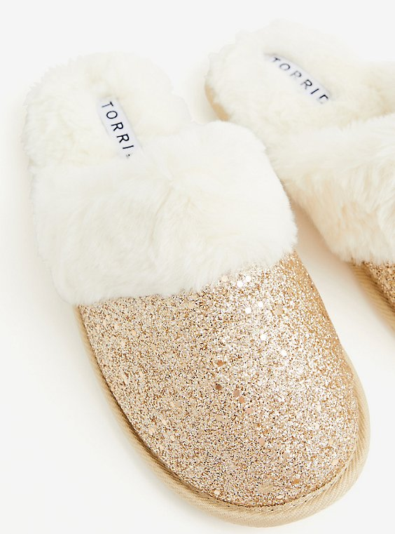 Gold Yellow Glitter Slipper (WW), , hi-res