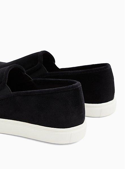 Black Velvet Slip On Sneaker (WW), BLACK, alternate