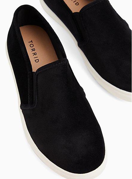 Black Velvet Slip On Sneaker (WW), BLACK, hi-res