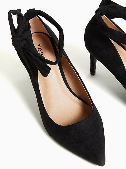 Black Faux Suede Ankle Wrap Pointed Toe Pumps (WW), BLACK, alternate