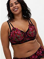 Black & Pink Heart Embroidered Underwire Longline Bralette, CHERRY, alternate