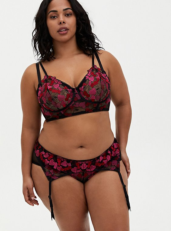 Black & Pink Heart Embroidered Underwire Longline Bralette, CHERRY, hi-res