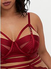 Plus Size Dark Red Lace Cage Underwire Longline Bralette, BIKING RED, alternate