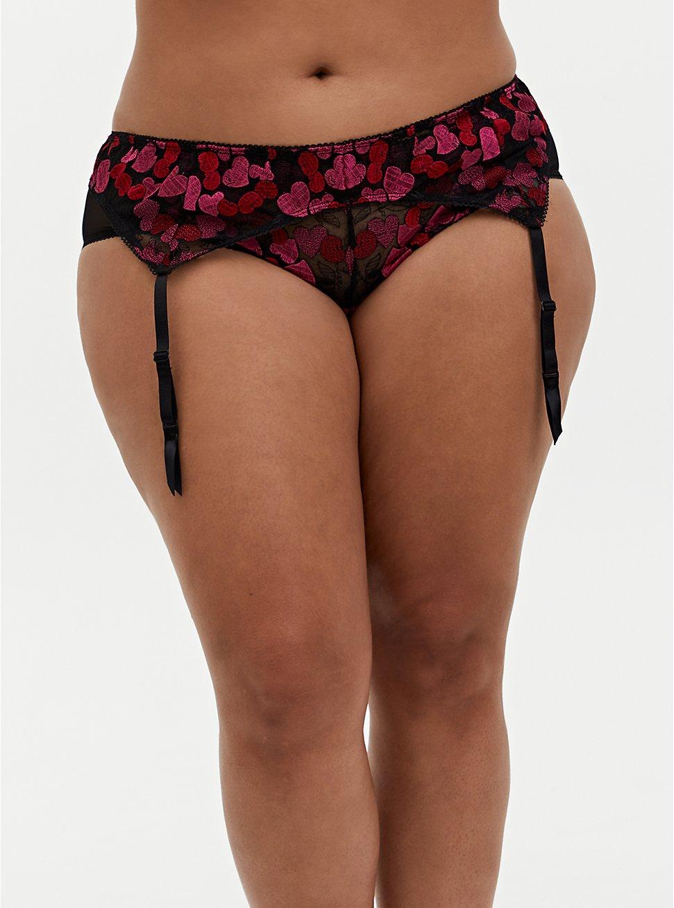 Black & Pink Heart Embroidered Mesh Garter Belt, CHERRY, hi-res