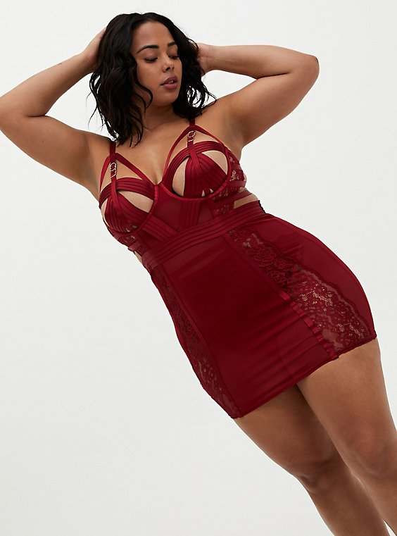 Dark Red Mesh & Lace Cutout Cage Underwire Chemise, , hi-res